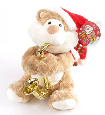 $ CDN27.23 • Buy Holiday Lane Animated Musical Saxophone Plush Bear Santa Claus Is Coming To Town