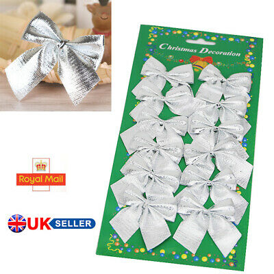 Silver Christmas Tree Bow Decoration Baubles XMAS Party Garden Bows Ornament UIK • 3.11£