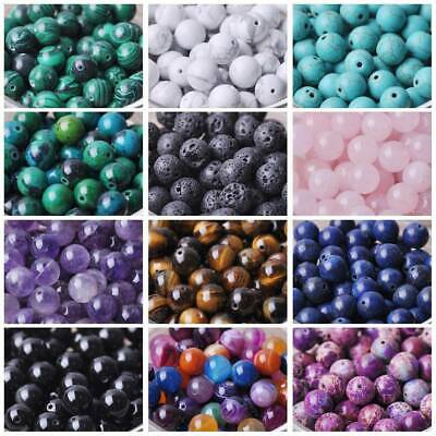 $ CDN1.28 • Buy Natural Gemstone Round Stone Loose Beads Lot 4mm 6mm 8mm 10mm DIY Jewelry Making