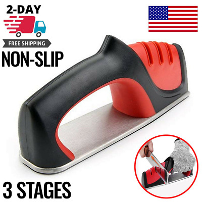 Professional 3 Stage Knife Sharpener Kitchen Blade Sharpening Handheld System • 9.70$