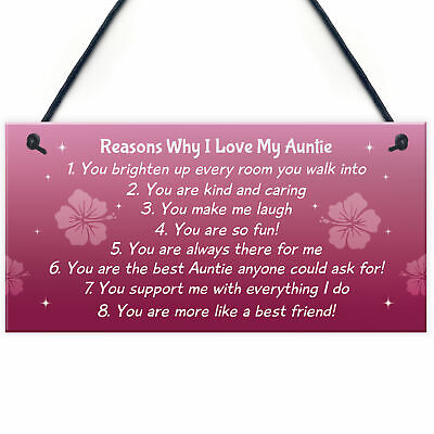 Reasons Why I Love My Auntie Hanging Plaque Auntie Birthday Christmas Gift • 3.99£
