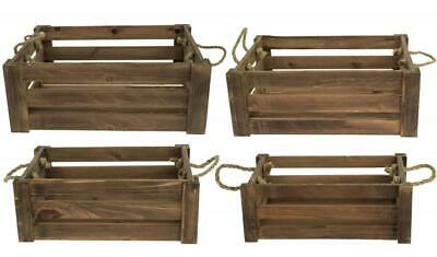 E2e Natural Brown Shallow Farm Shop Style Wooden Slatted Apple Crate Box • 7.99£