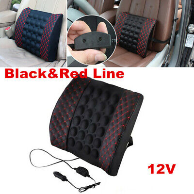 $ CDN30.64 • Buy Black&Red Lumbar Back Support Pillow Waist Massager Car Seat Chair Accessories