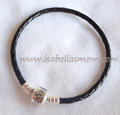 Authentic PANDORA Single BLACK LEATHER Silver BRACELET Small 6.9 -17.5 Cm NEW • 49.97£