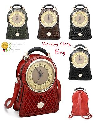 New Women's Vintage Style Clock Faux Leather Hand Bag/Backpack//Novelty Gift Bag • 59.99£