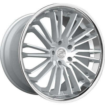 $1764.15 • Buy 4ea 20  Staggered Lexani Wheels Virage Silver Brushed W Chrome Lip Rims (S8)
