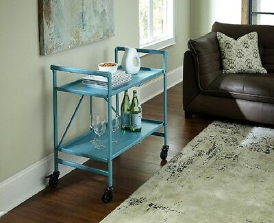 $152.95 • Buy Bar Cart With Wheels Teal Blue Utility Rolling Folding Serving Storage Table