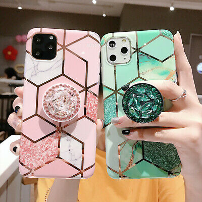 AU12.99 • Buy IPhone 11 Pro Max XR 8 7Plus XS Geometric Marble Case  With Pop Up Holder Socket