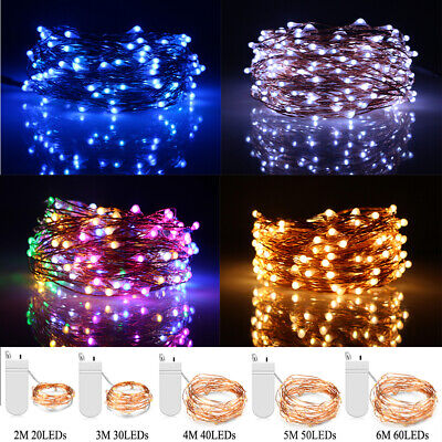 LED Battery Micro Copper Wire Fairy String Lights Christmas Party Garden Decor • 0.99£