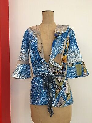 AU39 • Buy SAVE THE QUEEN Blouse TOP Tunic Wrap Funky Elegant Sporty Multicoloured XS 8