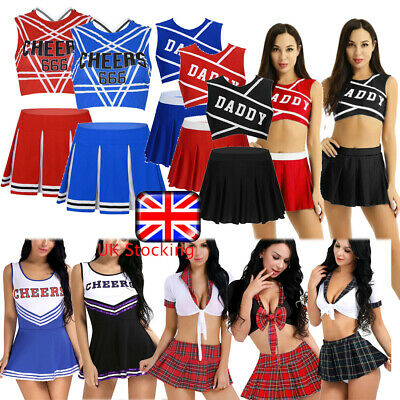 Lingerie School Girl Student Cheerleader Fancy Dress Uniform Nightclub CostumeUK • 11.75£