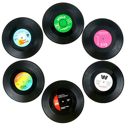 TRIXES Pack Of 6 Assorted Retro Vinyl Drink Coasters • 4.99£