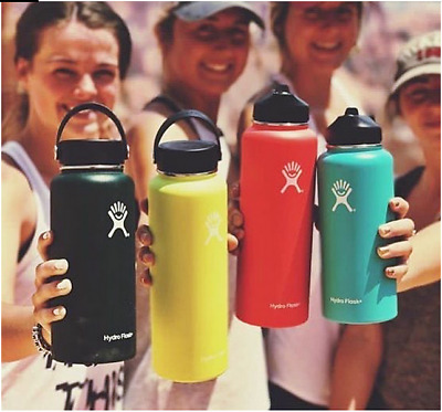 Hydro Flask Stainless Steel Water Bottle Insulated Wide Mouth Cap Straw Lid • 29.99$