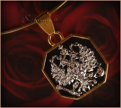 JOAN RIVERS IMPERIAL EAGLE CREST ENAMEL & CRYSTAL PENDANT W WIRE NECKLACE • 12.95$