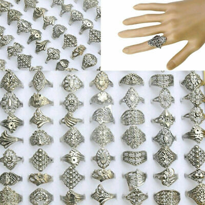 $ CDN6.44 • Buy Wholesale Jewelry Lots 30pcs Mixed Silver Tone Rings Vintaged Jewelry Unisex