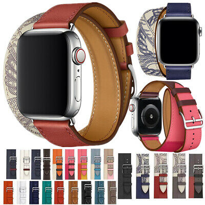 AU17.59 • Buy Double Tour Bracelet Real Leather Strap For Apple Watch Band 38mm 40mm 42mm 44mm
