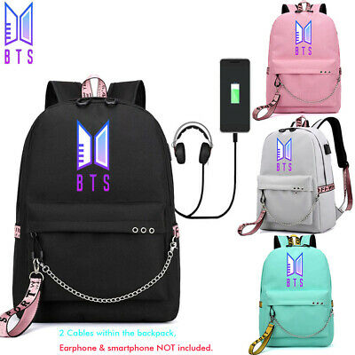 $23.74 • Buy KPOP BTS Backpack Bangtan Boys Christmas Schoolbag W/ USB Headphone Ports Cables