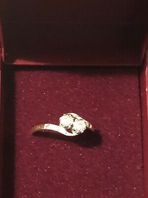 Beautiful 18ct Gold 2 Stone Diamond Ring Size N Engagement Used With Gift Box 2g • 145£