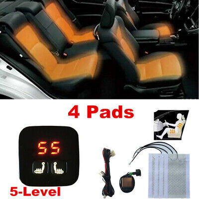 $ CDN83.02 • Buy Universal 2 Seats Heated Seat Heater Kit 12V Carbon Fiber 5-Level Digital Switch