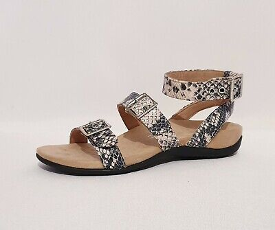 Vionic Sahara Black & White Genuine Leather Orthotic Wide Strap Sandals Womens • 49.99£