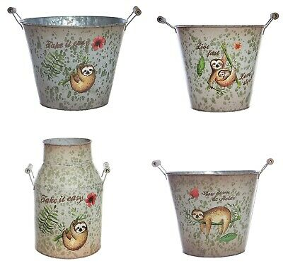 Sloth Metal Bucket Flower Planter Garden Herb Plant Pot Vase Tin Pale Container • 7.99£