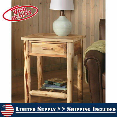 $136.95 • Buy Bedside End Table Solid Wood Nightstand Rustic Pine Log Cabin Side Accent