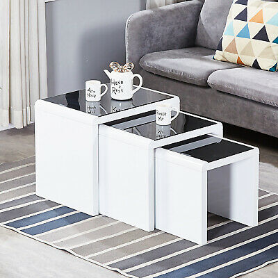 Nest Of 3 Coffee Table End Table With Glass Top Stackable High Gloss Living Room • 96.99£