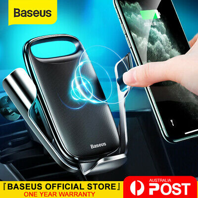 AU38.99 • Buy Baseus 15W Qi Wireless Charger Car Phone Holder Air Vent Mount For IPhone Galaxy