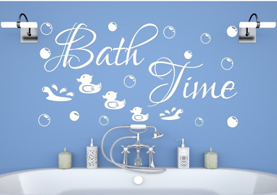 £5.76 • Buy Bath Time Bubbles Duck Wall Stickers Art Bathroom Decor Word Quote UK Zx137