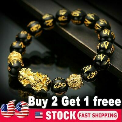 $4.35 • Buy Feng Shui Black Obsidian Beads Bracelet Attract Wealth & Good Luck Bangle Gift