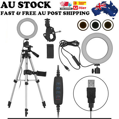AU46.13 • Buy 6  Dimmable LED Ring Light Tripod Phone Holder Stand Selfie Circle Lamp Make Up