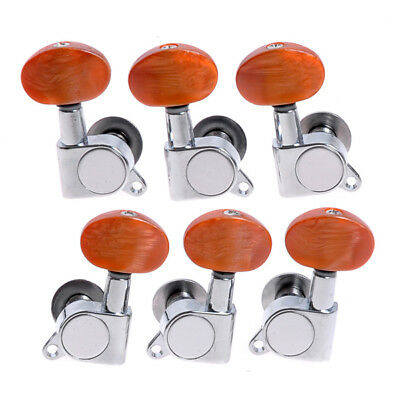 $ CDN20.13 • Buy Guitar String Tuning Pegs Tuners Machine Heads Chrome Amber Pearl Buttons 3L3R