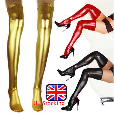 UK Women Wet Look Thigh High Long Latex Leather Stockings Tights Hosiery Tights • 5.69£