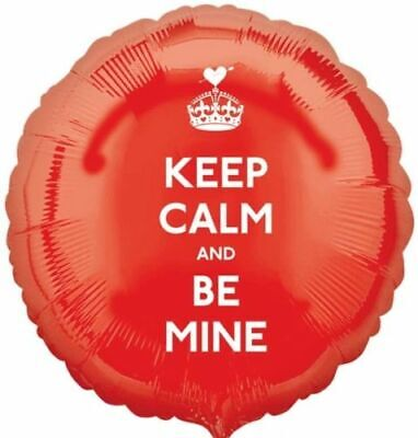 Keep Calm And Be Mine Red Circle 17  Foil Balloon Valentine Proposal • 1.80£