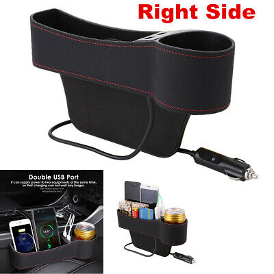 $14.30 • Buy 1x Right Side Car Accessories Seat Slit Pocket Storage Organizer Box W/2USB Port