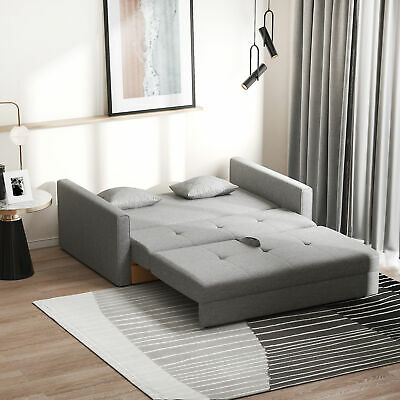 £349.99 • Buy 3-in-1 2-Seater Sofa Bed W/Storage Foam Padding Compact Wood Frame Grey Fabric