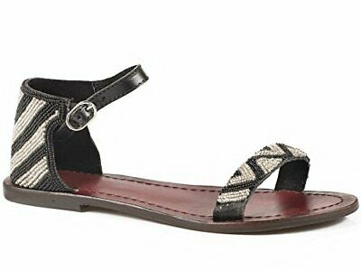 $29.99 • Buy Roper Sandals Ladies Black Leather Chevron Beaded Ankle Strap Shoes 6