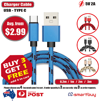 AU4.95 • Buy Type-C USB-C 3.1 Male Data Snyc FAST Charger Charging Cable Fo Samsung Galaxy S9