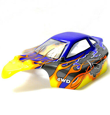 81353 Off Road Nitro RC R/C 1/8 Scale Buggy Body Shell Cover Flame Yellow Blue • 15.19£