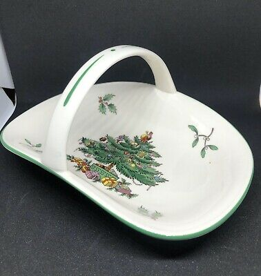 $22 • Buy Spode Christmas Tree Candy Dish With Handle