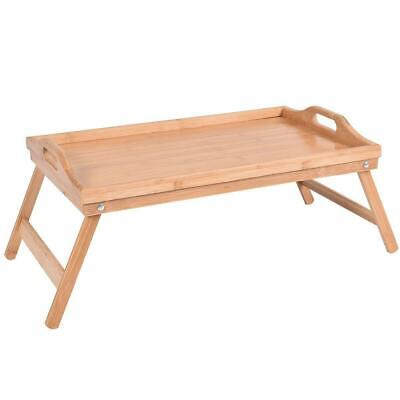 $16.90 • Buy New Bamboo Breakfast Bed Tray Serving Laptop Table Folding Leg W/Portable Handle