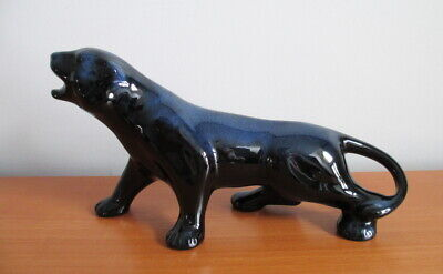$ CDN45 • Buy Blue Mountain Pottery Panther Figurine Blue Glaze 11  Vintage BMP Canada