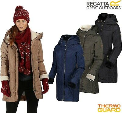 Regatta Ladies Quilted Long Length Hooded Insulated PATCHOULI Jacket Coat Womens • 39.98£