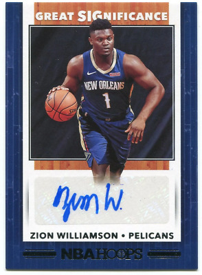 $525 • Buy Zion Williamson Autographed 2019-20 NBA Hoops Rookie Card