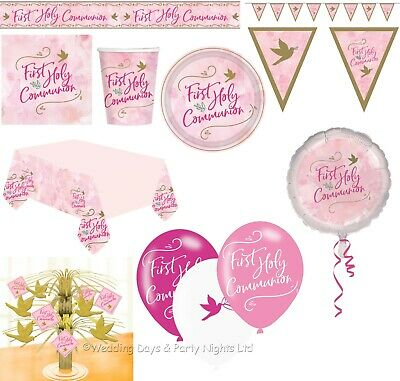 Girls Pink 1st First Holy Communion Tableware Banners Balloons Party Decorations • 3.89£