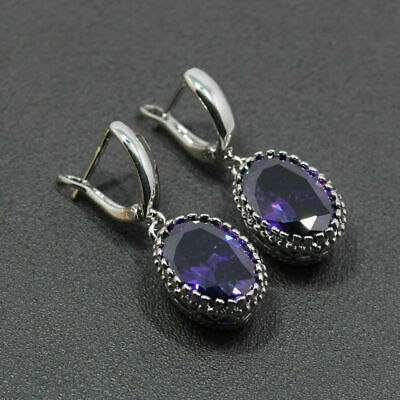 925 Sterling Silver & Purple Amethyst Drop Dangle Earrings Edwardian Style • 12.99£