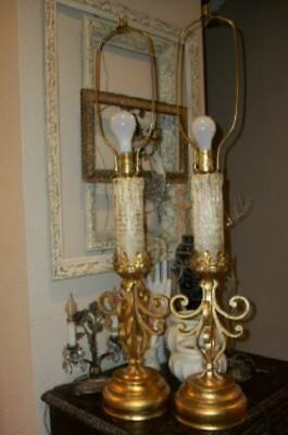 $347.39 • Buy ITALIAN TOLE GILT IRON TABLE LAMPS GOTHIC MARBRO Lg DRIP CANDLE MID CENTURY