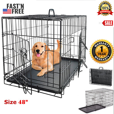 $81.99 • Buy Extra Large Dog Crate 48 Kennel Folding Pet Cage 2 Doors XXL Metal Wire Tray Pan
