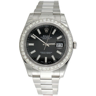 $ CDN13797.09 • Buy Mens 41mm 116300 Rolex DateJust II Real Diamond Watch Black Stick Dial 2.75 CT.