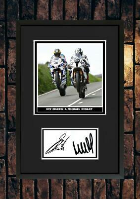 (#270) Guy Martin & Michael Dunlop  Tt Signed A4 Mounted Photo Or Framed @@@@@@@ • 14.99£